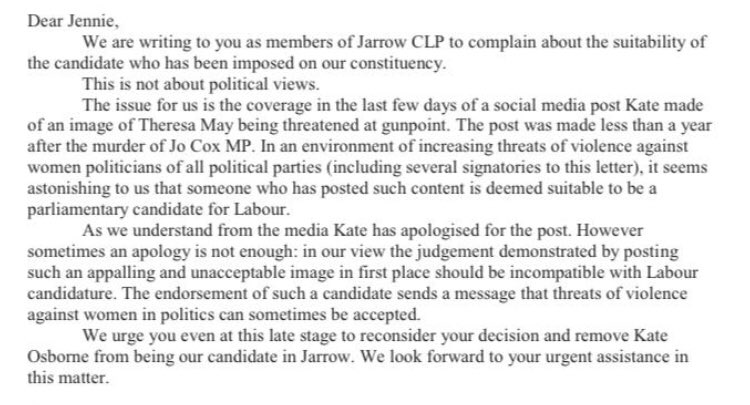 Jarrow CLP have written to Labour general secretary Jennie Formby asking the party to reconsider its choice of candidate for the seat.