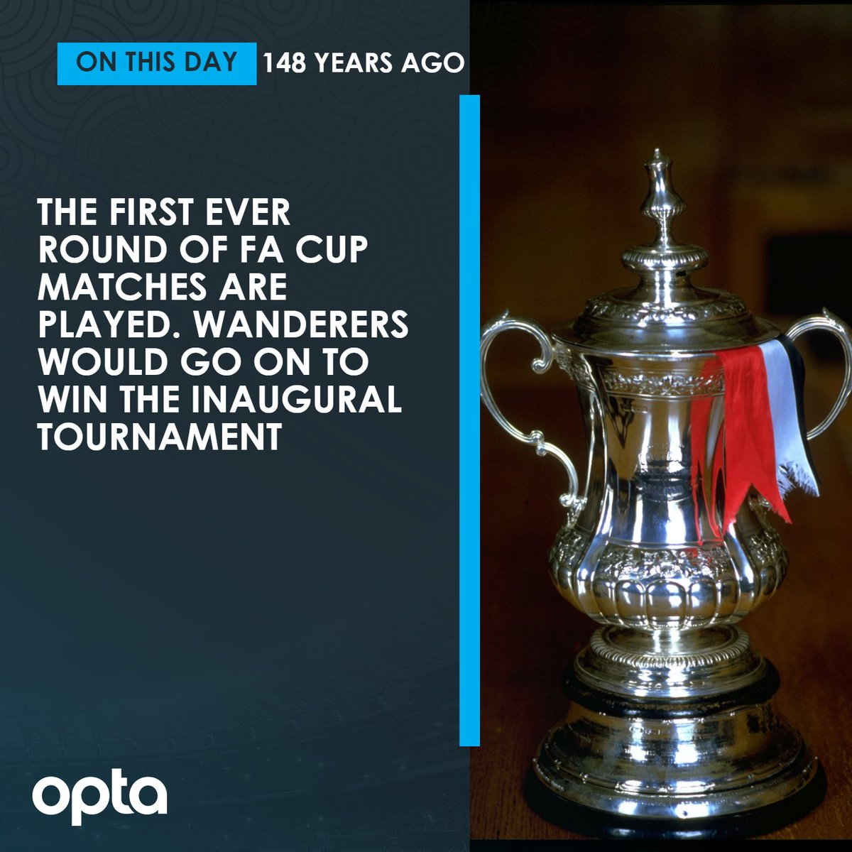 11/11 - On this day in 1871, the first-ever round of FA Cup matches are played. Wanderers would go on to win the inaugural tournament. Remember.