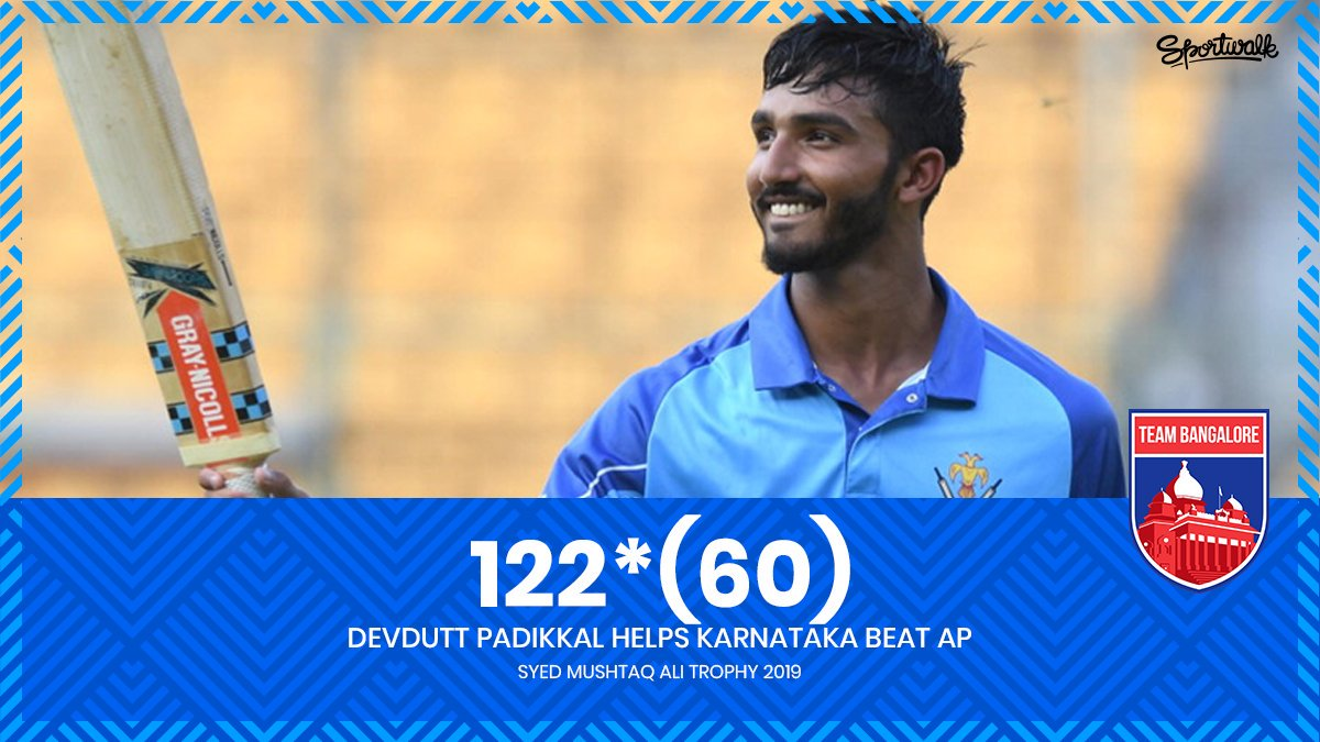 🔵👏 TAKE A BOW! Devdutt Padikkal's unbeaten 💯 helps Karnataka beat Andhra by 5 wickets.Photo by BCCI | #syedmushtaqalitrophy #devduttpadikkal #royalchallengersbangalore #rcb #klrahul #manishpandey #bcci #VijayHazareTrophy #karnatakacricket #kpl #teambangalore #Sportwalk