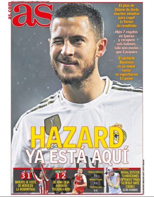 """📰 Eden Hazard a régalé la presse espagnole lors de son match face à Eibar.   👉 """"Hazard est enfin là""""  👉 """"Hazard commence à imprégner le Real de sa marque""""  👉 """"Le belge a été le meilleur parmi les Blancs à Eibar""""  #Hazard   #RealMadrid   #RMLiga"""