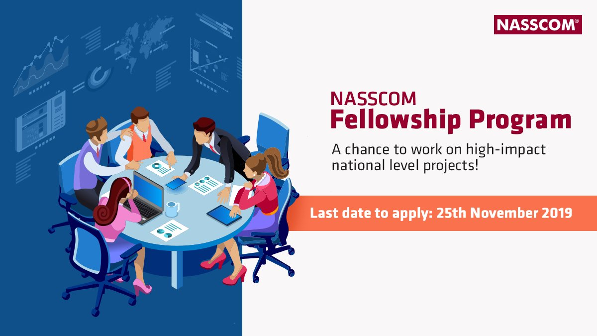 Tremendous learning, exposure to govt. and industry stalwarts, and an opportunity to create national impact – if these excite you, then you're the one we are looking for!Apply now for the NASSCOM Fellowship Program: http://bit.ly/2NGEGyB#NASSCOMFellowship