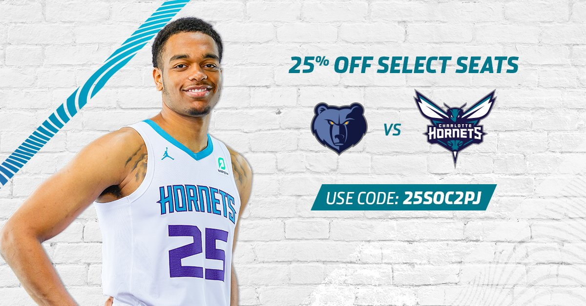 Lock in your seats to watch PJ Washington and your Hornets take on the Grizzlies this Wednesday. Use code 25SOC2PJ to get 25% off!🐝 #AllFly  🎟️: http://bit.ly/2p77bwT