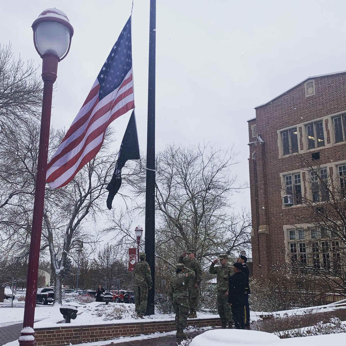 "It was an honor this morning to watch DU color guard raise the USA and POW/MIA flags in honor of the work and sacrifices of this nation's veterans. Visit the AAC at noon for our ""Ask a Veteran"" event. And thank you to everyone who has served and is serving in our armed forces."