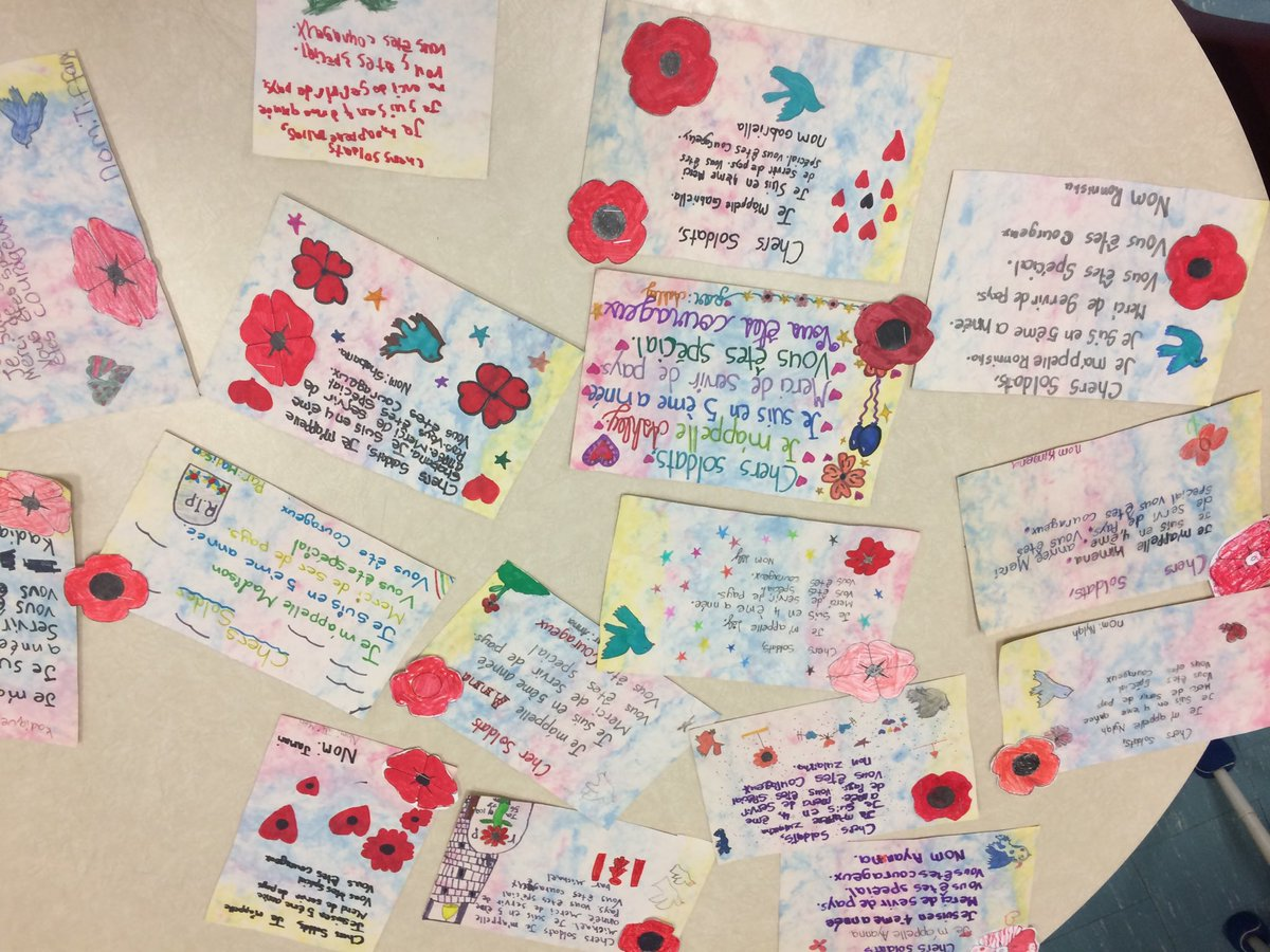 """Sending love to the veterans """"Postcards for Peace""""#RemembranceDay2019 @TDSB_Gosford @jenniferhall62 @LC2_TDSB @tdsb_helen"""