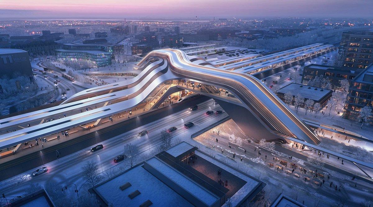 Zaha Hadid Architects and Esplan design Tallinn's new rail terminal with fluid public bridge: worldarchitecture.org/architecture-n… #estonia #architecture