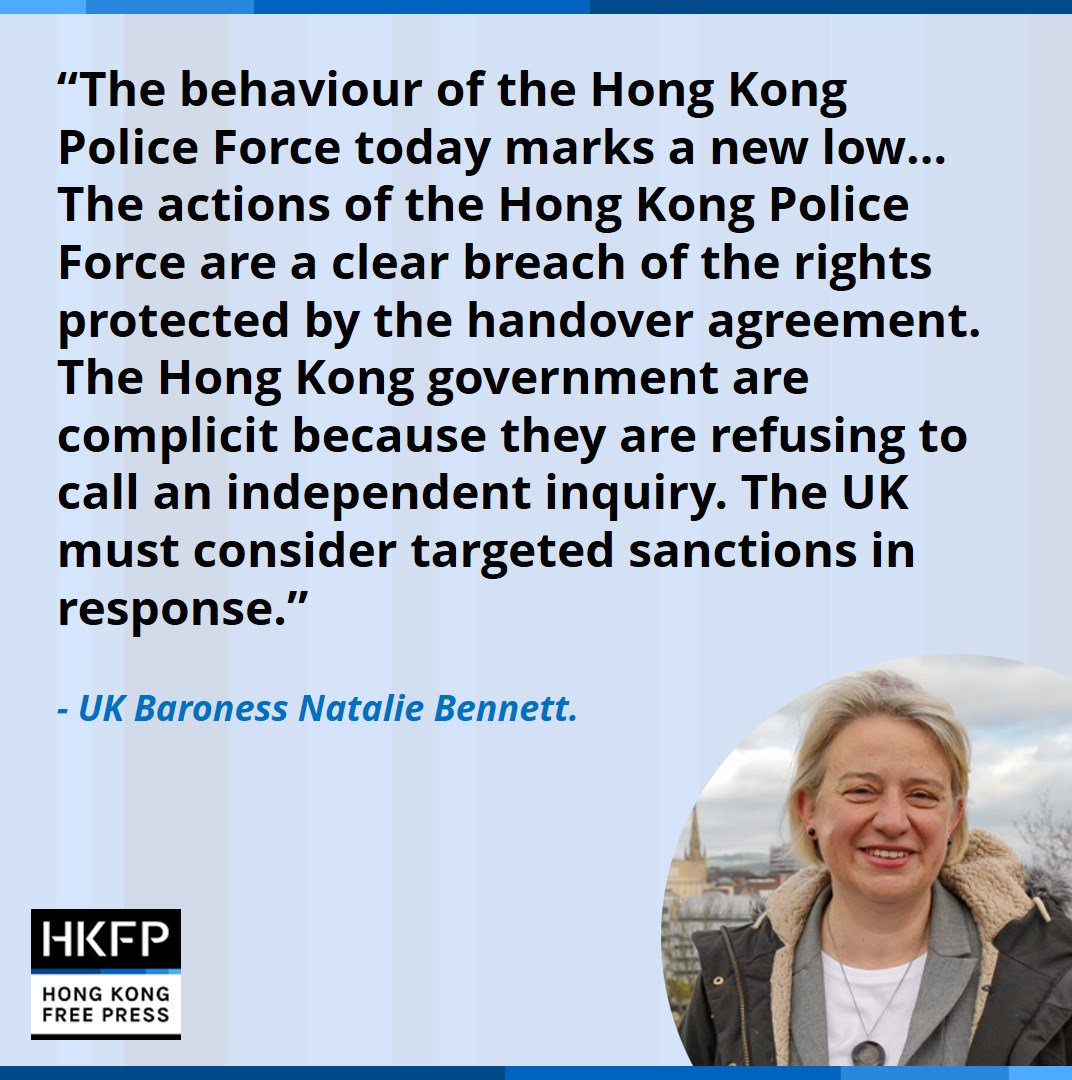 Baroness (Natalie) Bennett of Manor Castle, Chair of the Westminster Friends of Hong Kong and former leader of the Green Party has called on the UK to impose sanctions upon #HongKong. #HongKong #China #antiELABhk #antiELAB #HongKongProtests