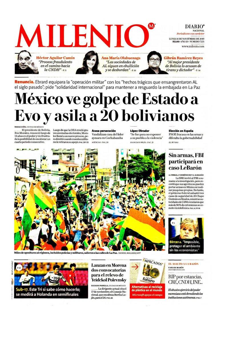 #Las8Columnas #Milenio: México ve golpe de Estado a Evo y asila a 20 bolivianos