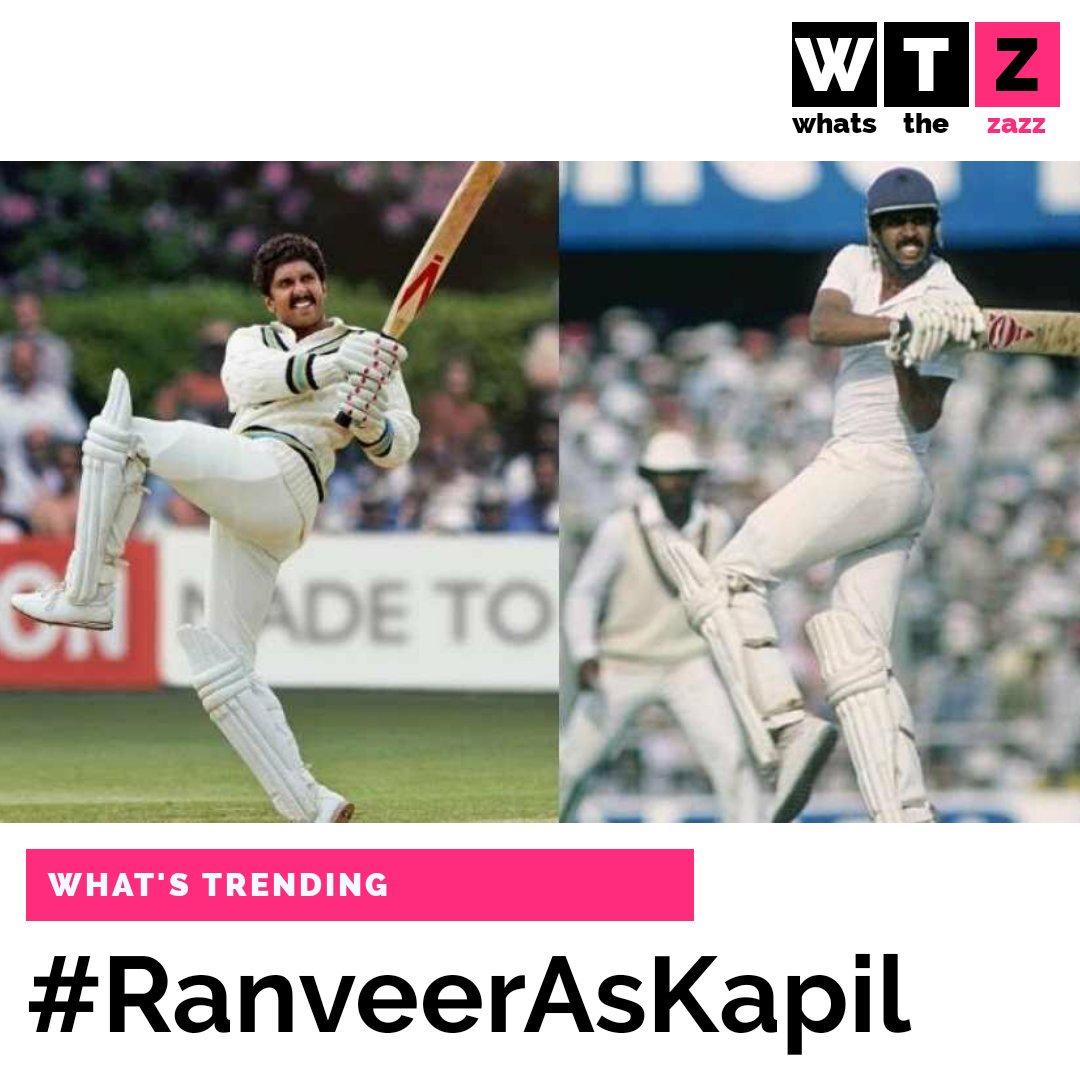 #RanveerSingh recreates #KapilDev's iconic shot Natraj shot for his film, 83.The actor plays the cricketing legend in #KabirKhan's upcoming film, 83, based on #India's win at the Cricket World Cup in 1983.#WhatsTheZazz #WhatsTrending #RanveerAsKapil #1983WorldCup  #Cricket