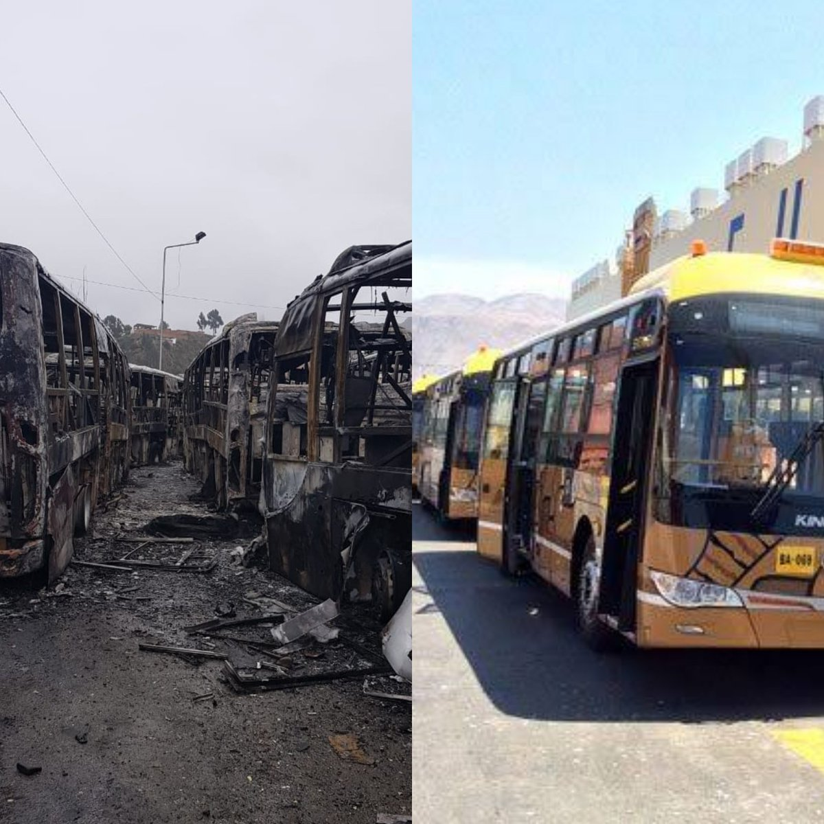This is what the government of #EvoMorales did. They sent to set fire to public transport, businesses and houses. #SOSBolivia <br>http://pic.twitter.com/aQr0BxGjKM
