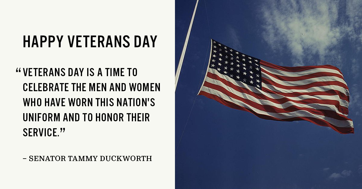 Happy Veterans Day! Today and every day, Democrats are proud to honor our nation's veterans and Gold Star families. We will continue fighting for the employment, job training, health care, and other benefits our veterans deserve.