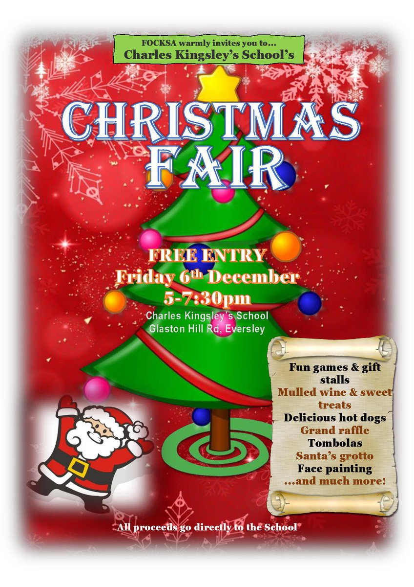 The Charles Kingsley's School Christmas Fair is on Friday 6 December from 5-7.30pm. It's always lots of fun for all the family and helps raise vital funds for the school. Please add it to your calendar today. 🎅🏻 https://t.co/HCTx4rOfcc