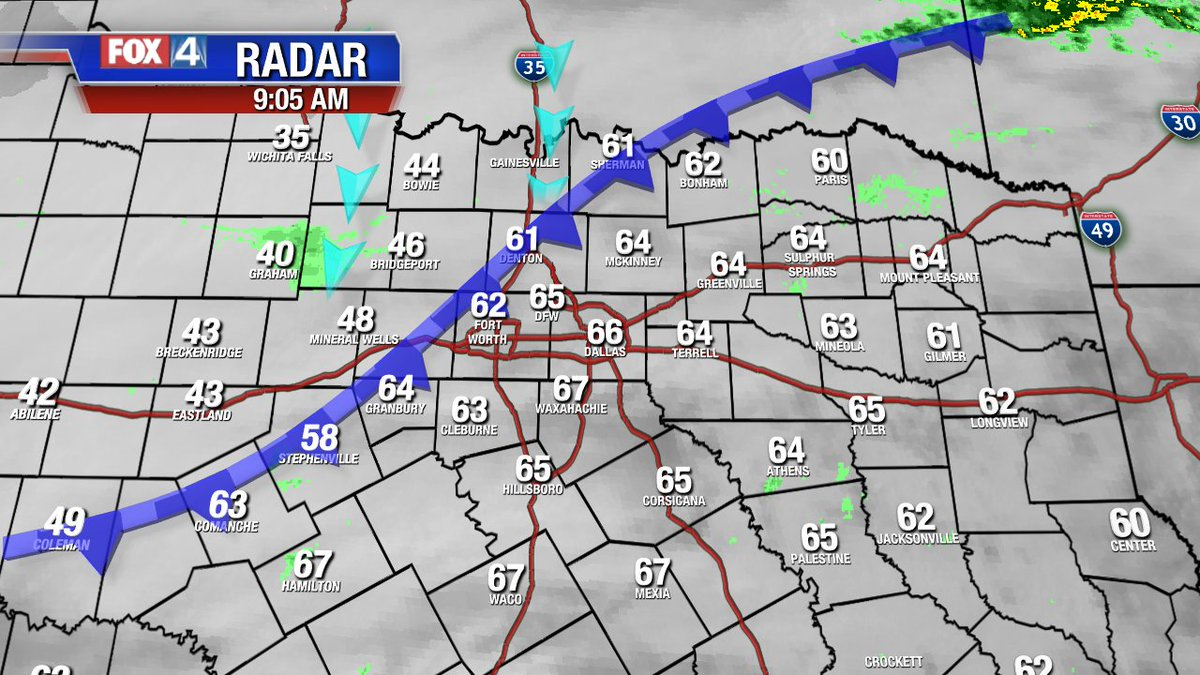 9am: Arctic Front is on I-35W...racing SE. Should get into Dallas just after 10am. How will you know? Winds will increase to 40+ mph, and temps will fall 15 degrees....and keep falling all day! By afternoon? Temps in the 30s and wind chills near 20!