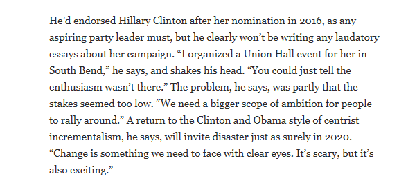 @neeratanden So the reporter that wrote the story about Pete says she misquoted him. However, here is what he told the WaPo about Obama and Hillary.