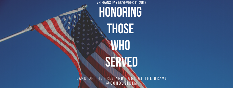 Happy #VeteransDay! Take time today to thank veterans in your life for their service. We all owe them a debt of gratitude. #CoLeg #CoPolitics
