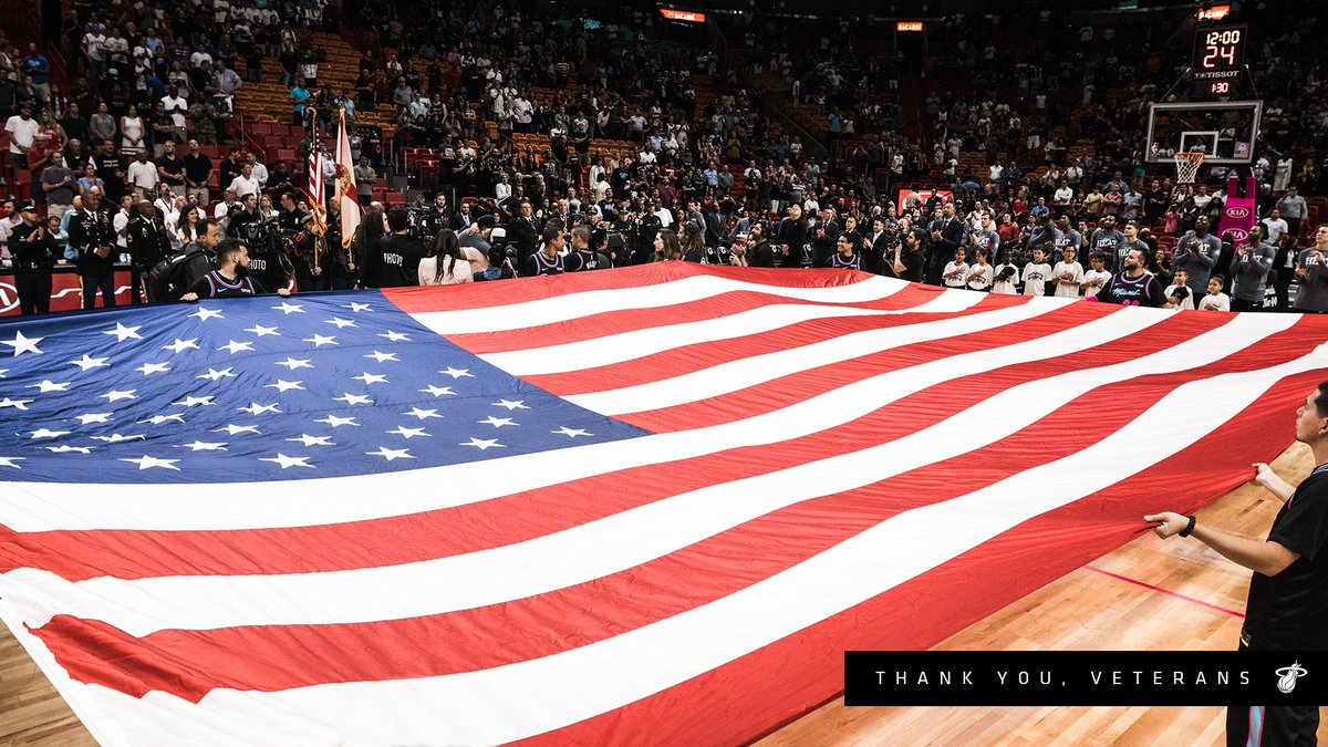 Today we are proud to recognize and honor all the men and women who have served our country. Your Miami HEAT family thanks you. 🇺🇸   #VeteransDay
