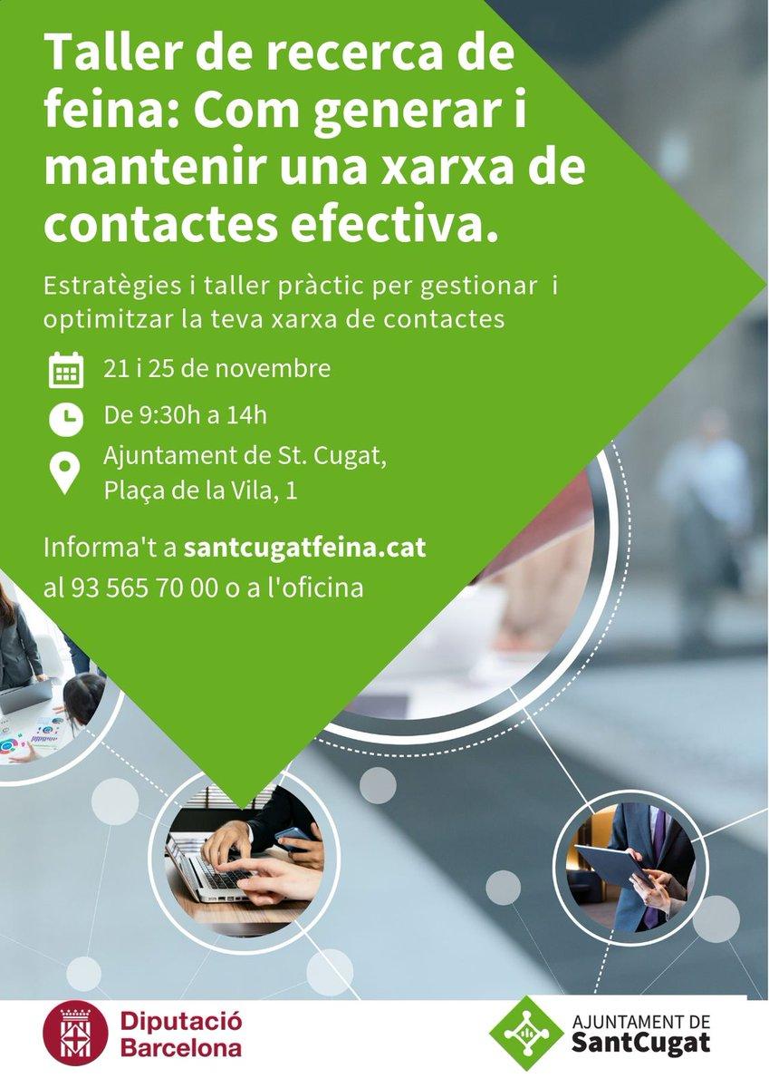 """✅""""Com generar i mantenir una xarxa de contactes efectiva?""""  Estratègies i taller pràctic per gestionar i optimitzar la teva xarxa de contactes.  ✏️Inscripcions fins al 19 de novembre 👇👇👇https://t.co/AeHpNSXppy  #SantCugatFeina #SantCugat   @ElenaVilaGomez @ocupaciostc"""