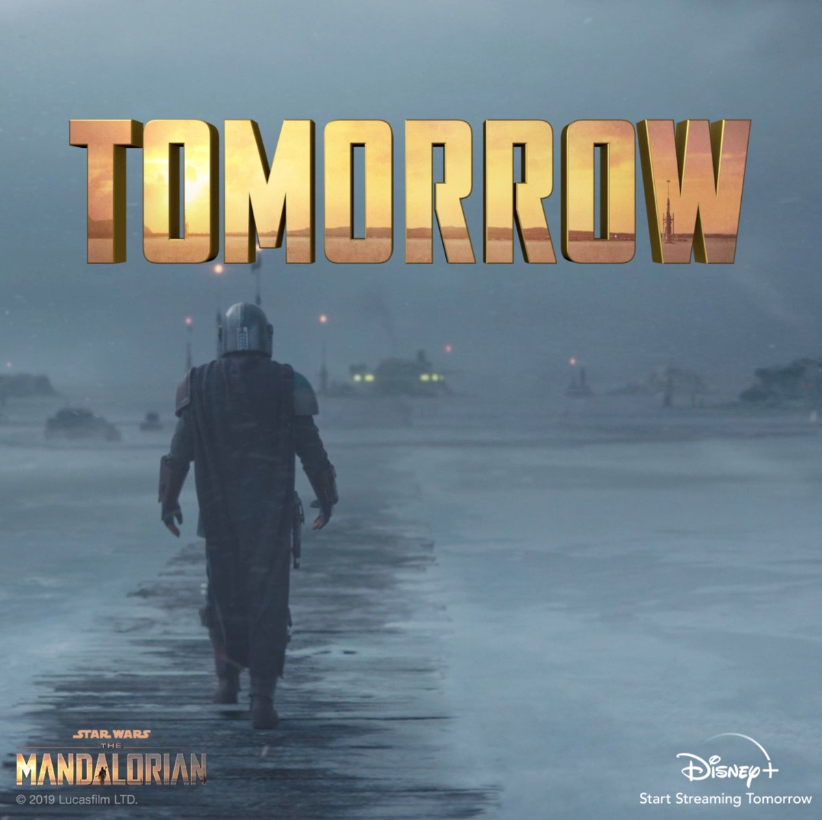He arrives tomorrow. Start streaming #TheMandalorian, only on #DisneyPlus.