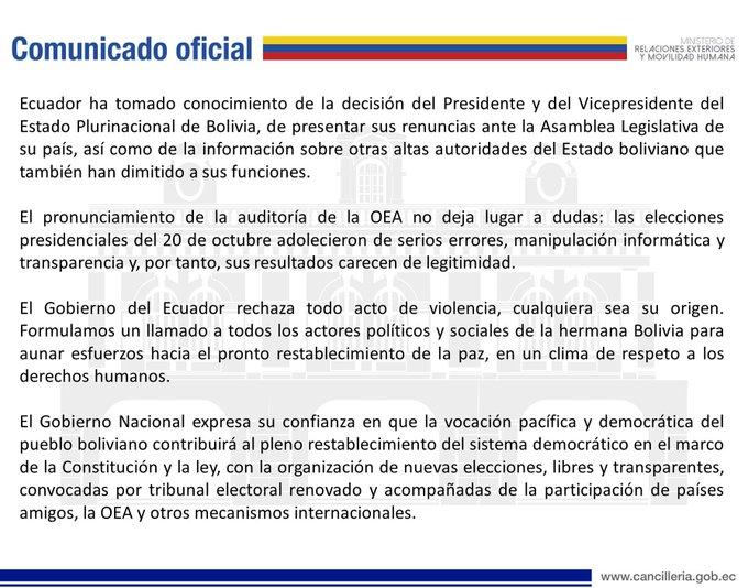 Comunicado oficial sobre la situación en Bolivia realizado por la Cancillería del Ecuador