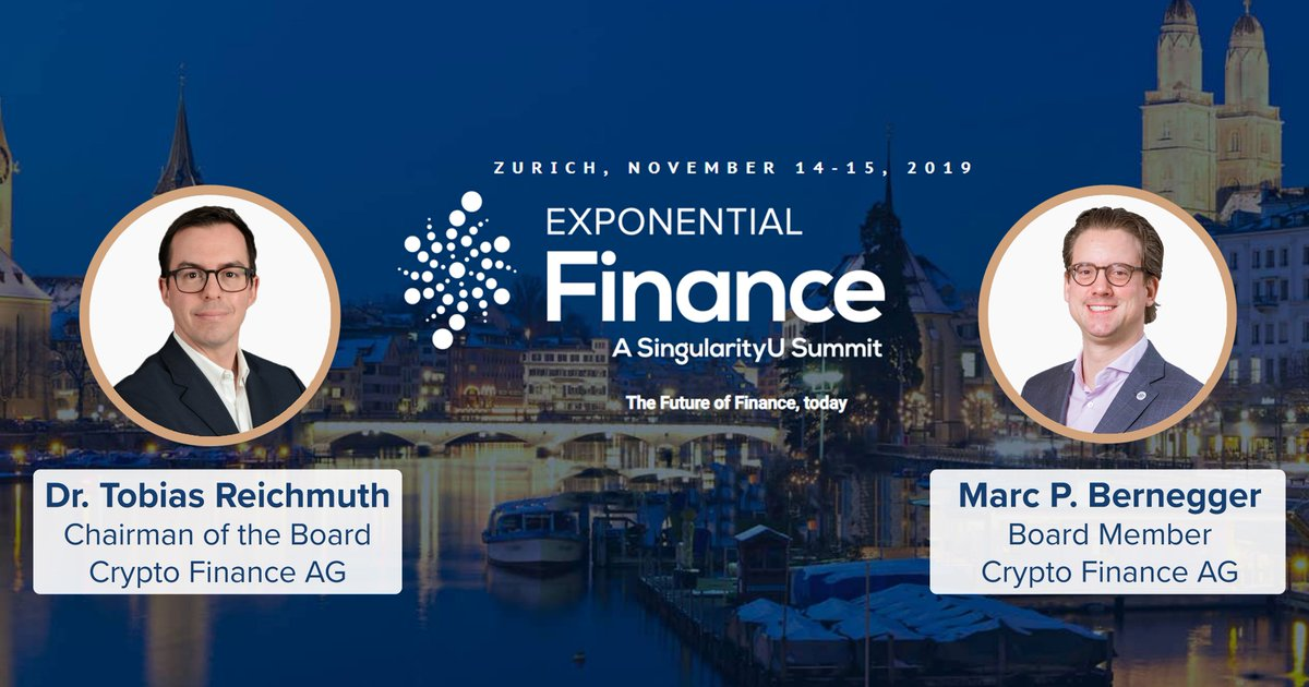 Our chairman of the board @TobiasReichmuth & board member @marcpbernegger will speak at the Exponential Finance Summit this Thursday 14 November 2019 in Zurich. Event details & registration: exponentialfinancesummit.com