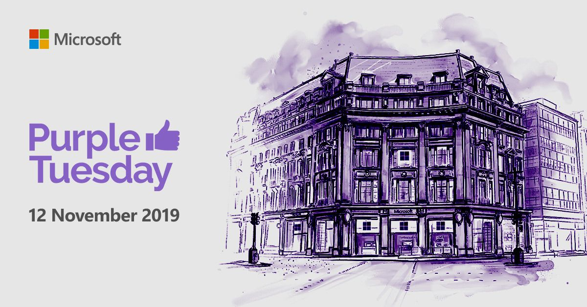 "An artist drawing of the London Microsoft Store with a purple hue overlay. Text which reads ""Purple Tuesday. 12 November 2019"""