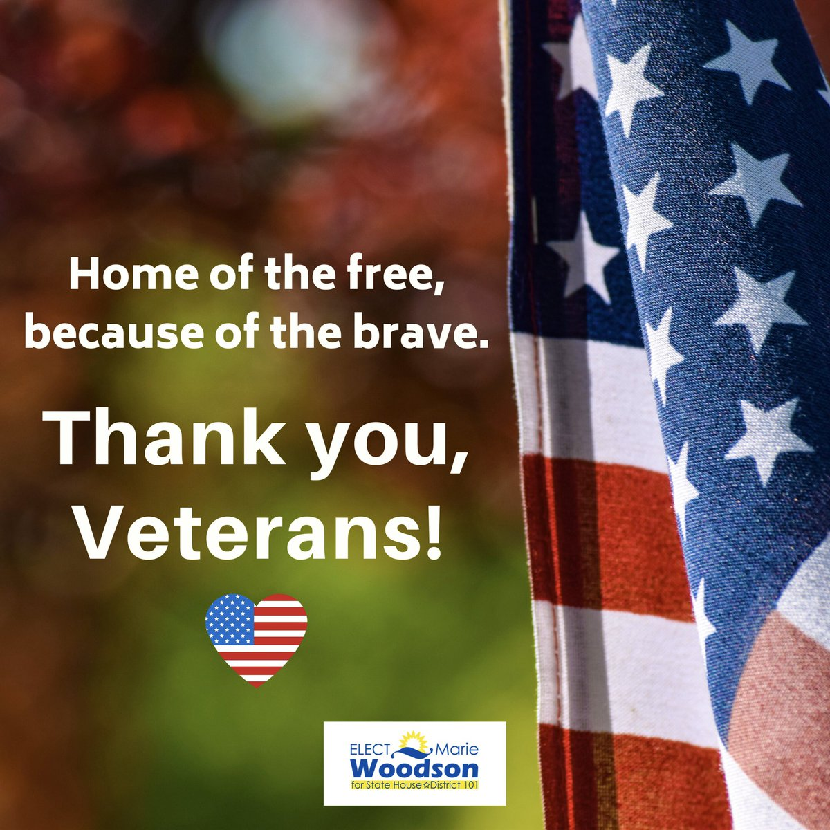 Let's express our gratitude by thanking our veterans who have sacrificed so much for us. We can never repay them;but, we can provide the support and resources to give them and their families a better quality of life! Let's do better by our veterans. Thank you to all our Veterans!