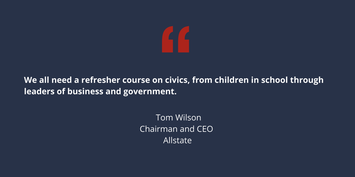 Thank you @USCCFoundation @HarvardBiz @Allstate @TomWilsonALL for highlighting why civic education is critical and urgently needed!