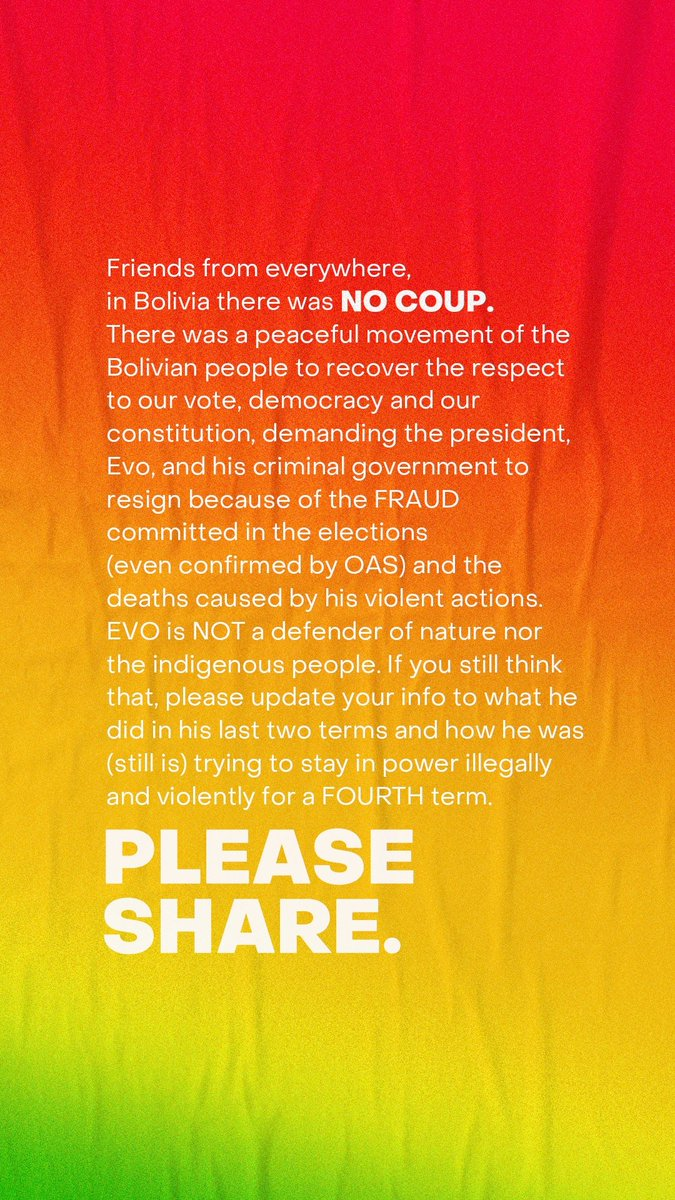 PLEASE SHARE! WE NEED HELP!  @soyfdelrincon @CNNEE @CNN @ChumelTorres @Almagro_OEA2015  #LaVerdadSobreEvo #EleccionesBolivia #EvoMorales #Bolivia #boliviaunida #evorenunciaya #evodictador #bolivialibre #BoliviaDemocratica #CONCLUELEXBOL20<br>http://pic.twitter.com/DReV82qpIX
