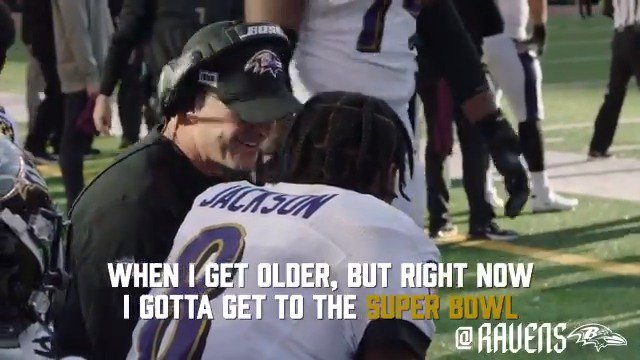 """You know how many little kids in this country are gonna be wearing number 8 playing quarterback for the next 20 years?""  This interaction between John Harbaugh and Lamar Jackson is everything 👏 (via @Ravens)"