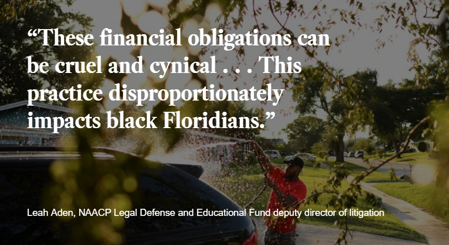 Within months, Florida's Republican-controlled Legislature tried to limit the effect of the initiative — passing a measure to allow voting only by ex-felons who have paid off all court-imposed fees, which in some cases amount to tens of thousands of dollars. 📸: @WallySkalij