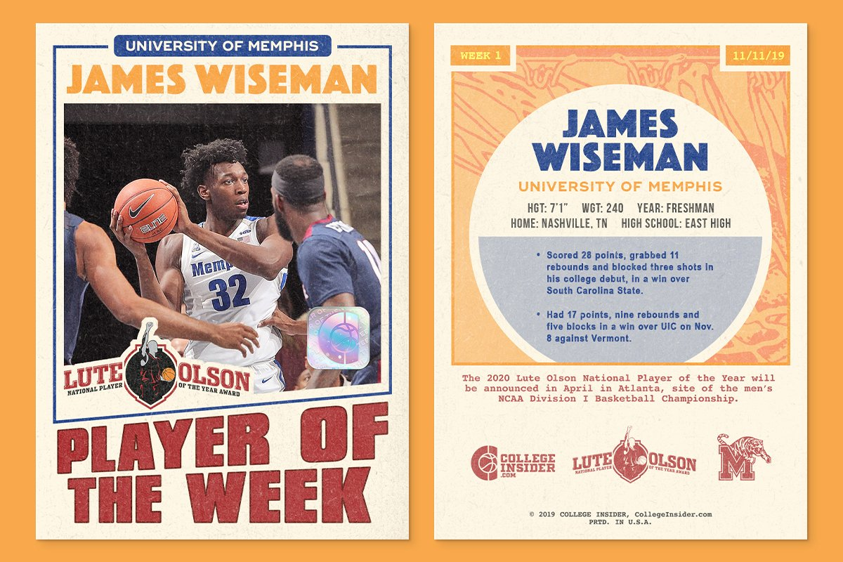 NCAA: James Wiseman is ineligible.  Memphis: Yeeeaa, no. We're playing him.  NCAA: But we said...  American: Wiseman is the AAC Freshman of the Week.  NCAA: SOmEonE tAKe uS sErIOusLy pLeASe.  Lute Olson Award: Excuse us. Just here to name Wiseman our National Player of the Week.