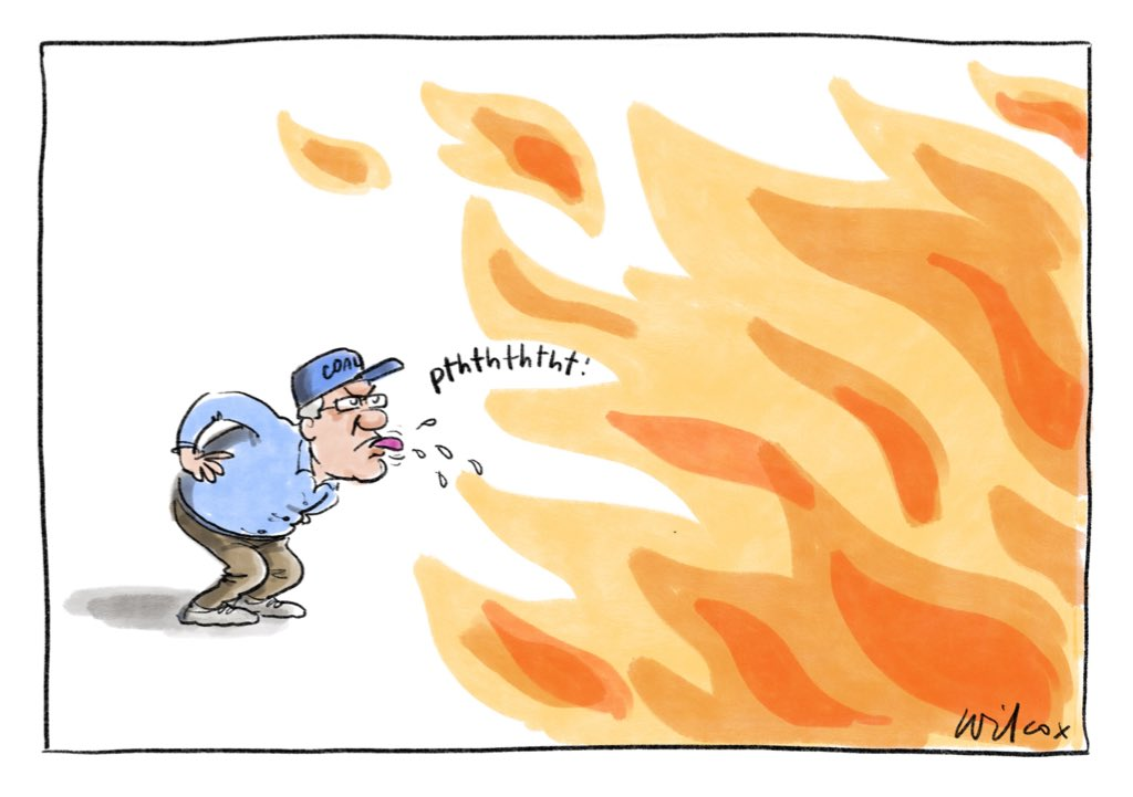 Scott's fighting with all he's got. My @smh @theage cartoon.