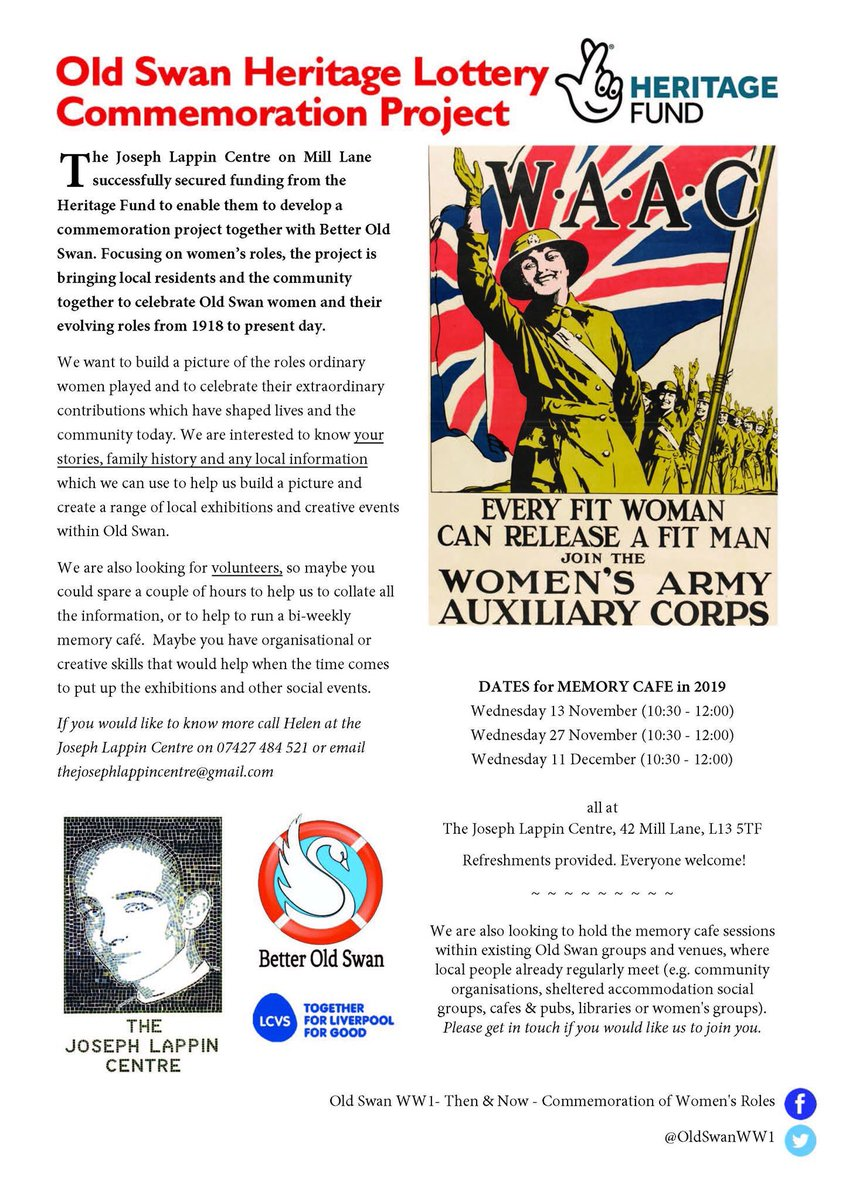 Are you interested in the evolving lives and roles of women in society over the last 100 years? Are you looking to develop new skills in event mgmt, research, social media? This project might be right up your street. @LappinCentre #OldSwan #volunteers #WWI