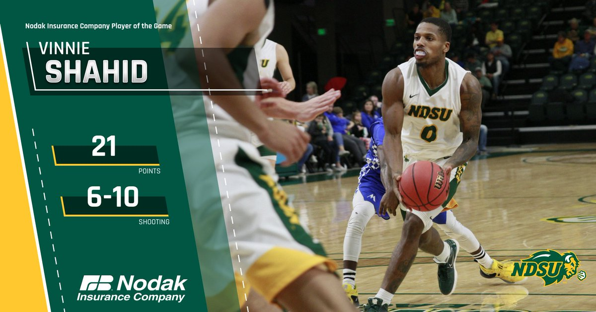 Vinnie Shahid scored 21 points to lead the Bison to a victory over Cal Poly, earning @nodakinsurance Player of the Game.