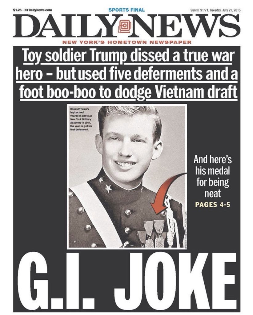 Replying to @john_lisovitch: @WhiteHouse Thanks #CadetBoneSpurs!
