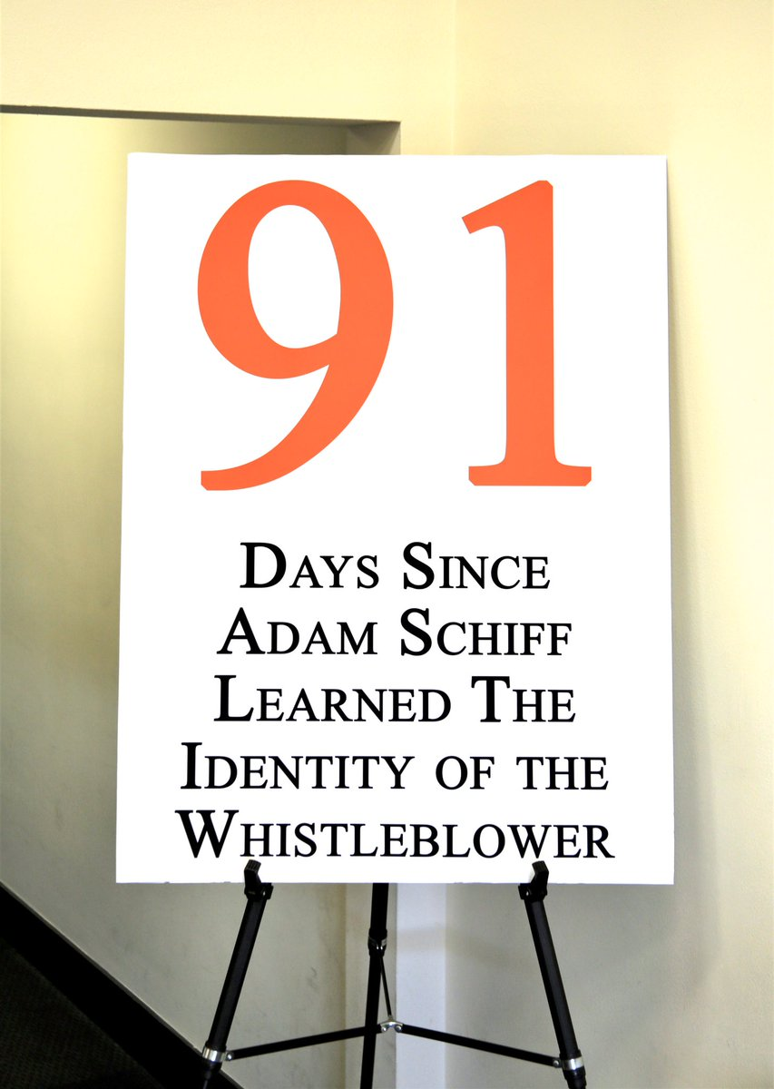 Replying to @GOPoversight: Days since @RepAdamSchiff learned the identity of the whistleblower: 91