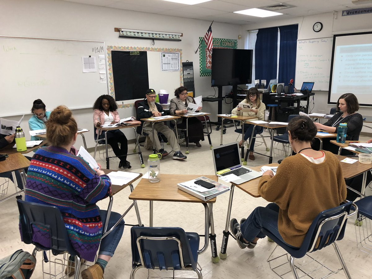 @BedichekMS faculty practicing their Socratic seminar and critical reading skills! @AustinISDAVID