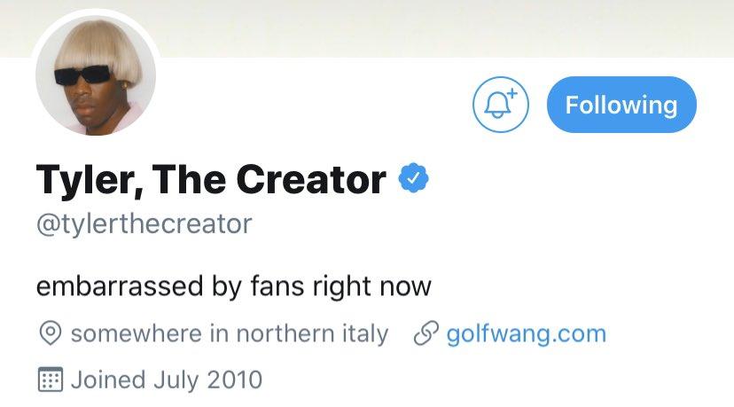 Tyler's twitter bio..