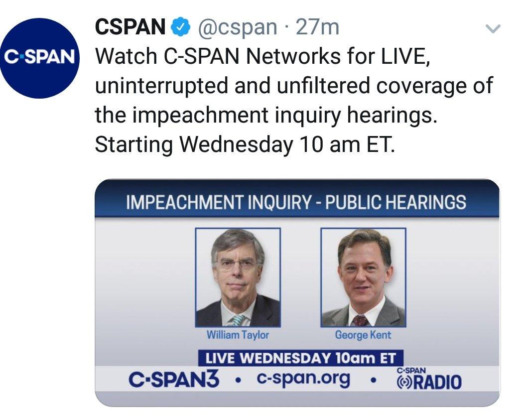 Reminder :#ImpeachmentInquiryWatch via @cspan#WednesdayThoughts#WednesdayWisdom#wednesdayimpeachment