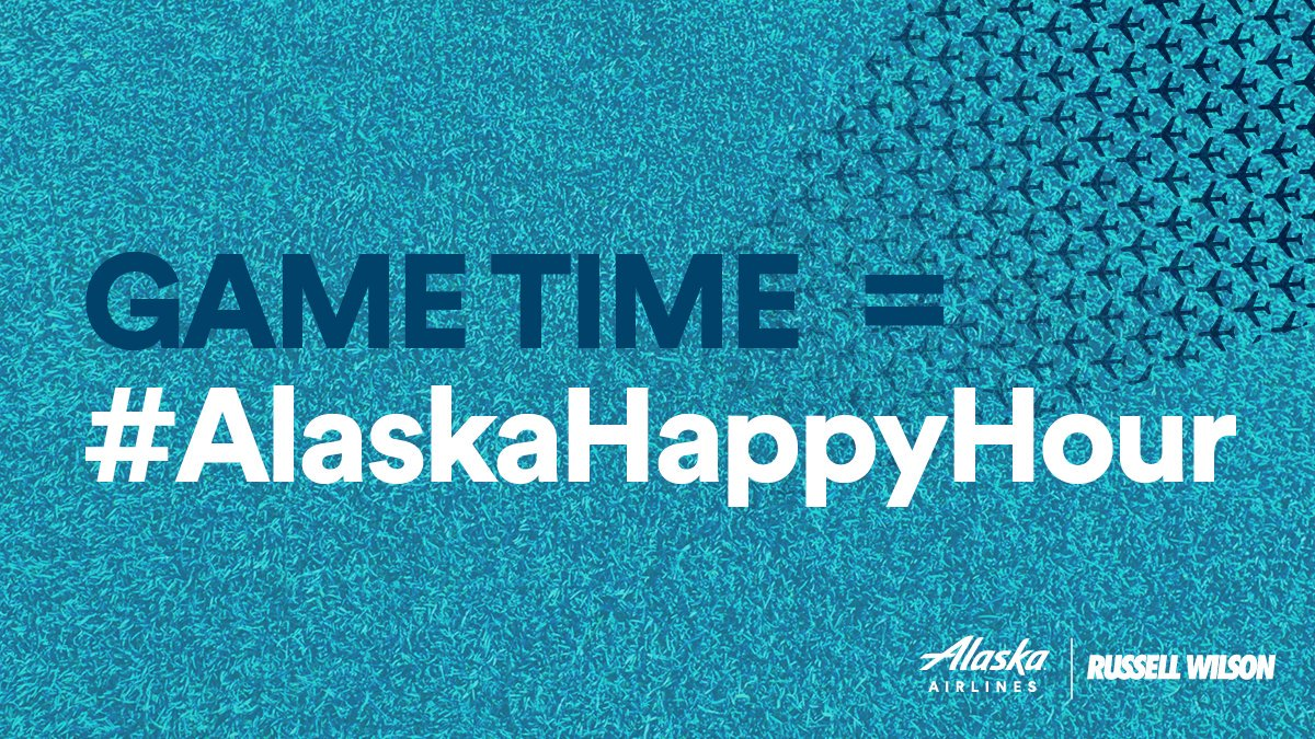 It's almost game time! And tonight, we're playing our own game alongside CFO @DangeRussWilson! When Russell takes the field, we're kicking off the ultimate #AlaskaHappyHour, so don't miss out on the action! 🏈