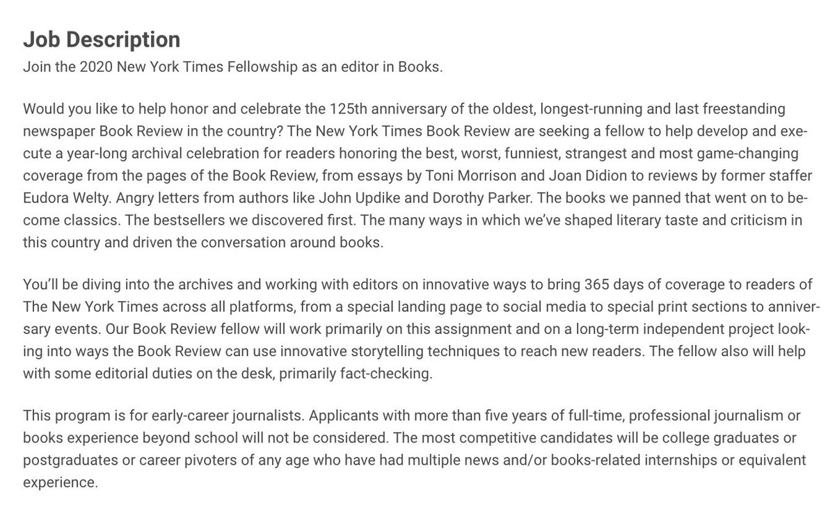 Replying to @TinaJordanNYT: Come work on the books desk at the NYT!