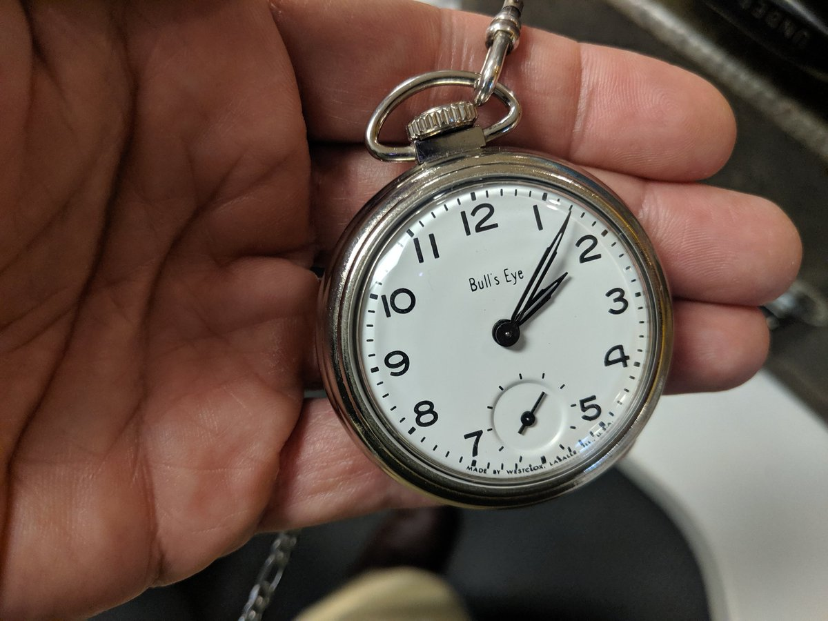 Today, @reillyadam, it is the crappy 1960s Westclock BullsEye, which was a cheapo drugstore watch at the time. I keep hoping it will die because it ticks So Loud. But it has lasted this long, I would feel bad tossing it for no reason.