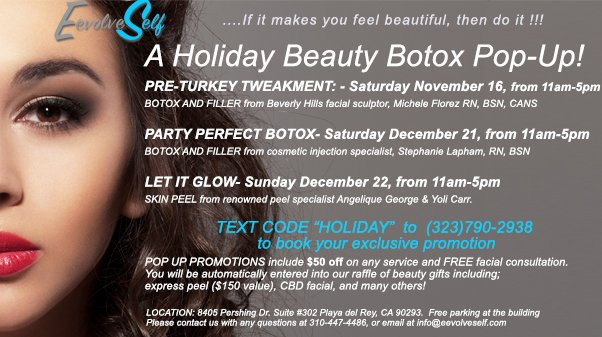 Holiday Botox & Peel Pop-Up in Playa del Rey, CA #playaderey #playavista #playapalisades #botox #facepeel #filler  #patch #holidaybeauty #holiday #holidayshopping #culvercity #marinadelrey #juvederm #lips #lipfillers #aesthetics #antiaging #facial #injectables #lipinjections
