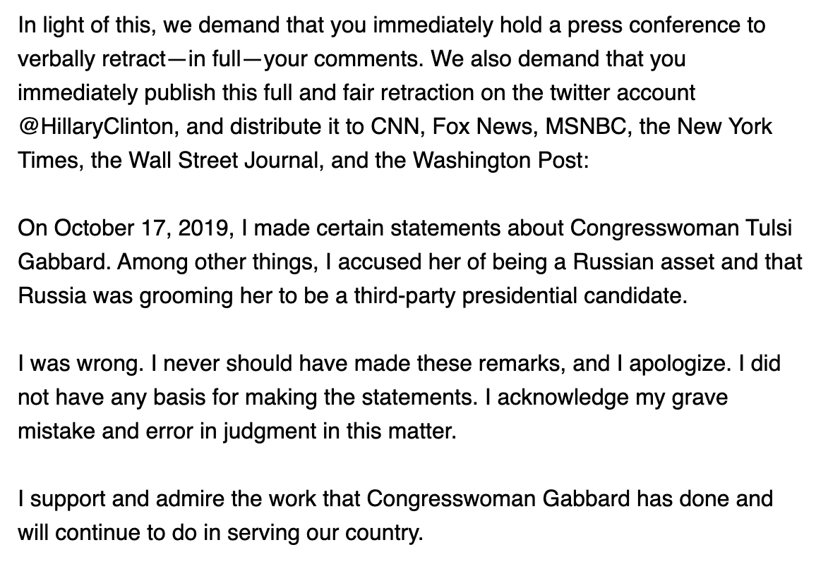 "The Gabbard campaign's demand for an apology from Hillary Clinton includes the text they want her to deliver, including ""I support and admire the work that Congresswoman Gabbard has done and will continue to do."""