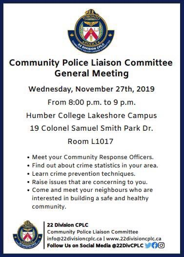 Thank you to @22DivCPLC for hosting this event! NOT TO BE MISSED! Wednesday, November 27'th, 8-9pm. Humber College Lakeshore Campus 19 Colonel Samuel Smith Park Dr., by Kipling Ave., Room L1017. @TPSNRO22 @TPS22Div @TPSAux22Div #AlderwoodTO #etobicoke #etobicokelakeshore