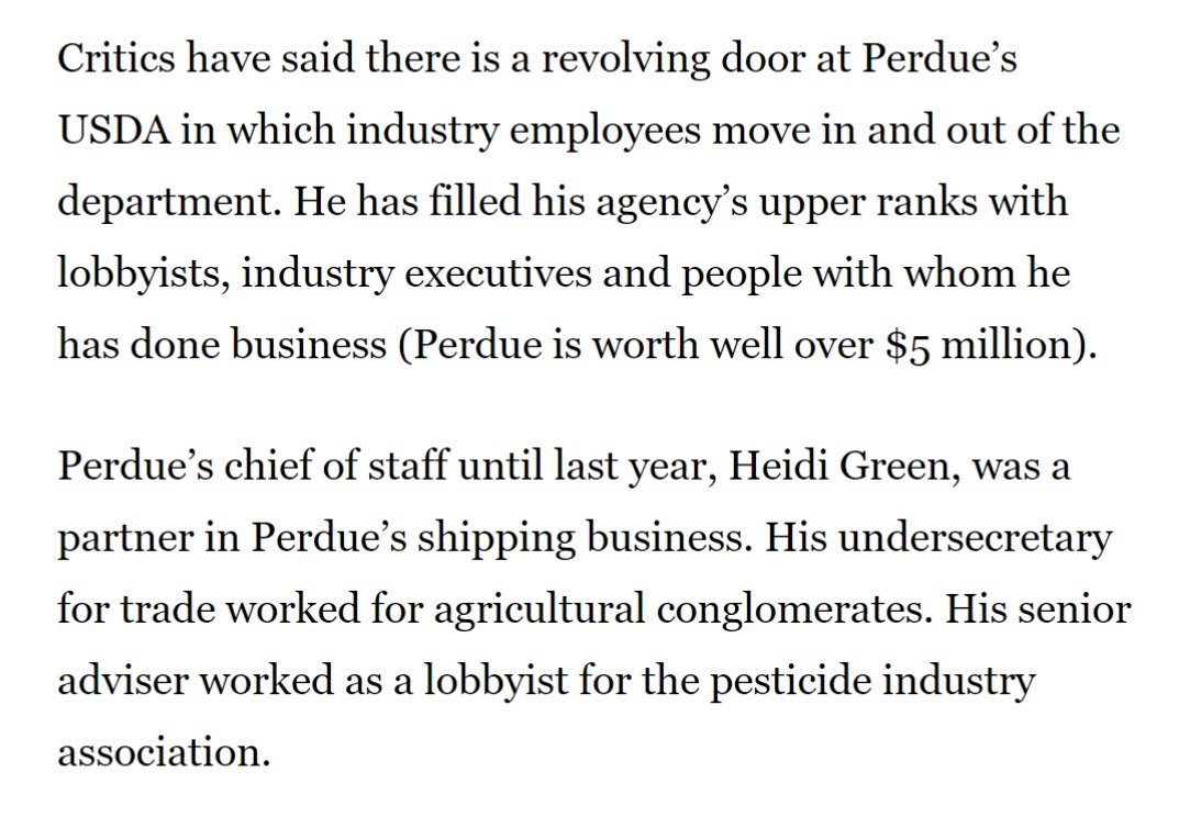 At USDA, Sonny Perdue has filled the senior ranks with lobbyists, industry executives, and people he's done business with in the past.  Basically the opposite of draining the Swamp.