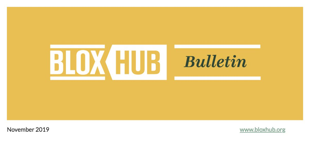 What's hubbening in BLOXHUB? Check out the BLOXHUB Bulletin - November edition:   https://t.co/fNZY0vZNMN