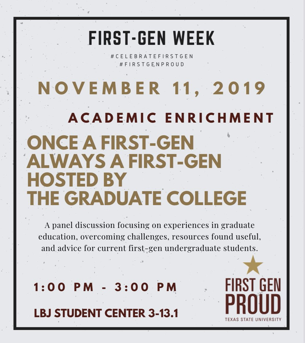 What's Up Bobcats 😼 Happening now is out last event for First Gen Week hosted by The Graduate College! #FirstGenProud #CelebrateFirstGen ⭐️