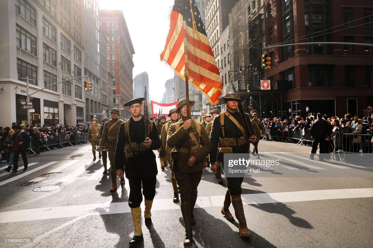 World War I American military reenactors march in the #VeteransDay Parade in New York City 📷: @spencerplatt1