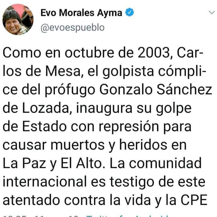 This is a total lie ... Evo Morales is a dictator, shit of person, the worst of Bolivia. #concluELEXBOL20 #EvoDictador #BoliviaNoHayGolpe #MENTIRA <br>http://pic.twitter.com/df6iuM3Qiq