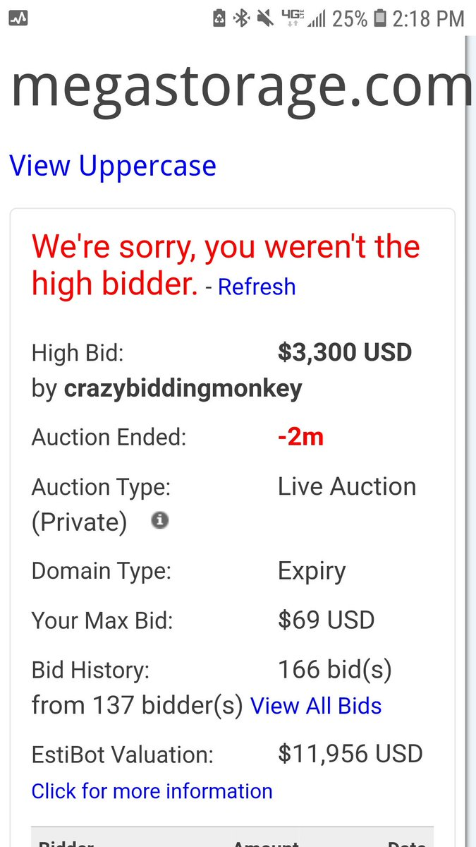 RT thedomains: RT MediaBrandingVP: 137 Bidders just battled it out for the #DomainName http://MegaStorage.com Winning bid was $3300.Couple TMs on this domain.One by Sony and an actual Storage Company in Iowa.#Domainer friends, do you bid on a DN…